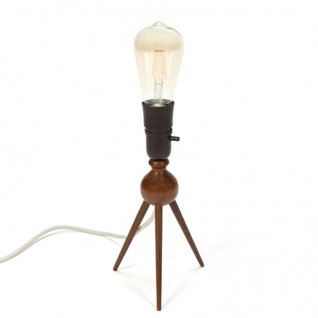 Danish vintage table lamp on 3 legs of teak