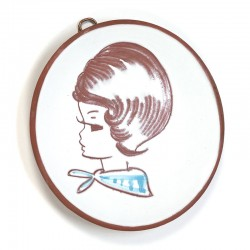 Vintage klein wandbord met meisje blauw