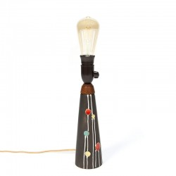 Vintage dotted pottery table lamp