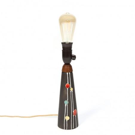 Vintage gestipte aardewerk lampenvoet