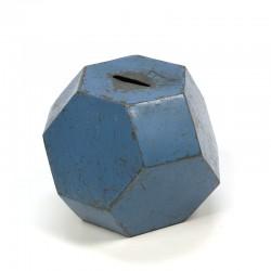 Vintage metalen blauwe spaarpot jaren 30