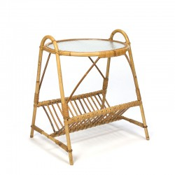 Cane side table with newspaper rack vintage