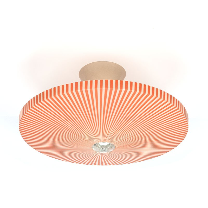 Rode plastic vintage Philips plafondlamp