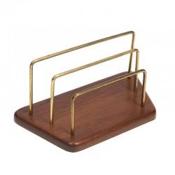 Teak vintage letter holder with brass