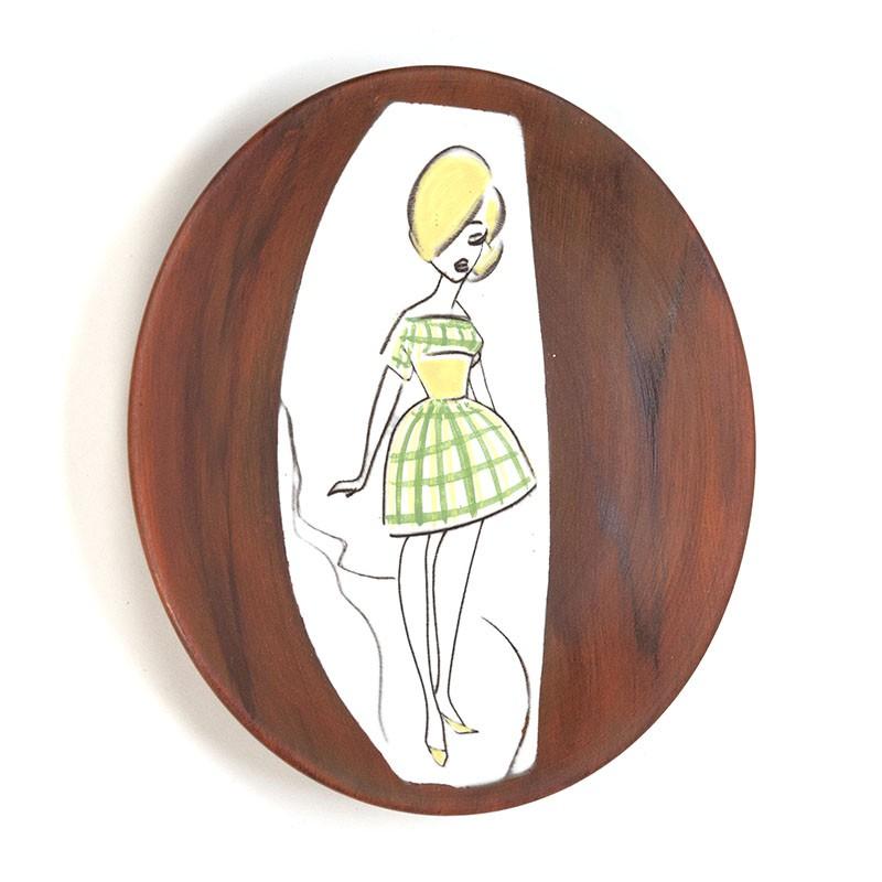 Vintage jaren zestig wandbordje met meisje