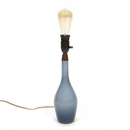 Danish vintage blue glass table lamp