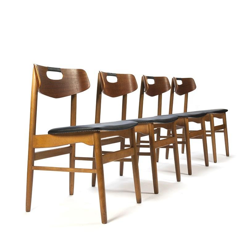 Set van 4 Deense vintage stoelen met zwart detail