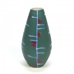 Vintage West Germany vase green with red accent
