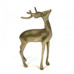 Vintage sculptuur van een hert in messing