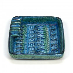 Vintage Bitossi Rimini blauwe asbak ontwerp Aldo Londi