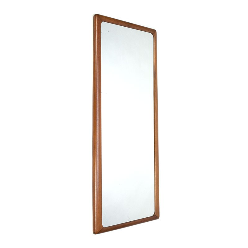 Grote vintage spiegel met brede teakhouten rand
