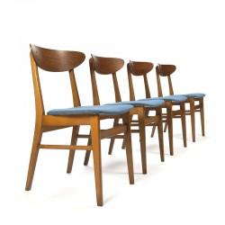 Set vintage Farstrup 210 stoelen met blauwe bekleding