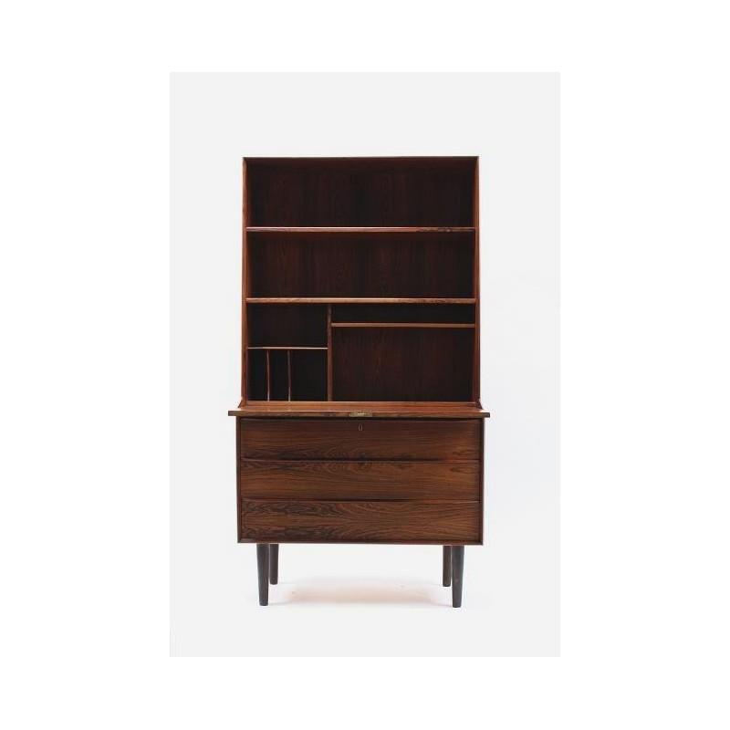 Secretaire / boekenkast in donker palissanderhout