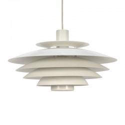 Wit metalen vintage Deense schijven hanglamp