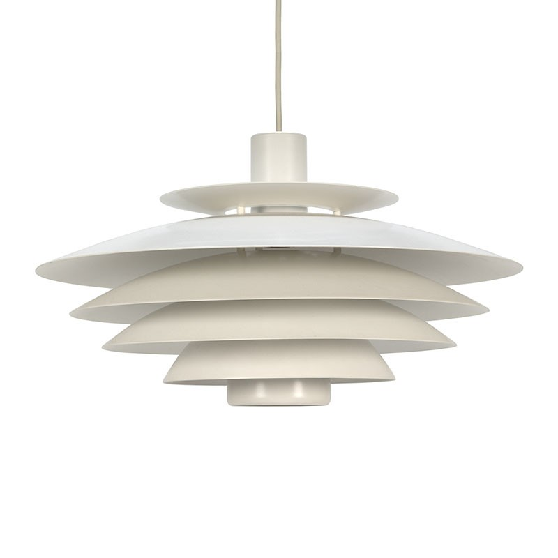 White metal vintage Danish disk hanging lamp