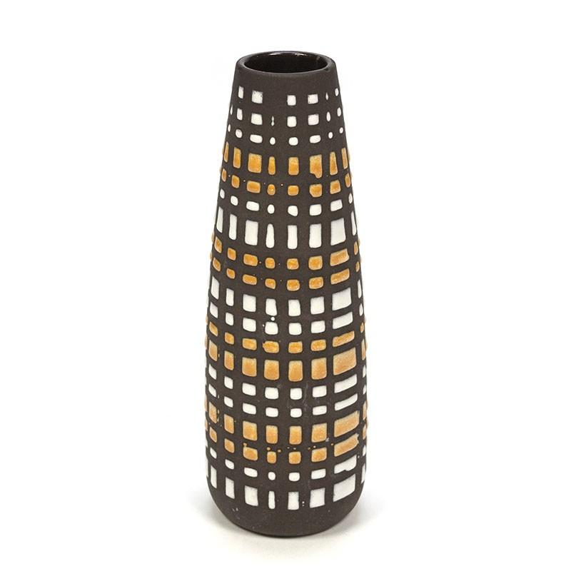 Earthenware vintage brown / yellow vase