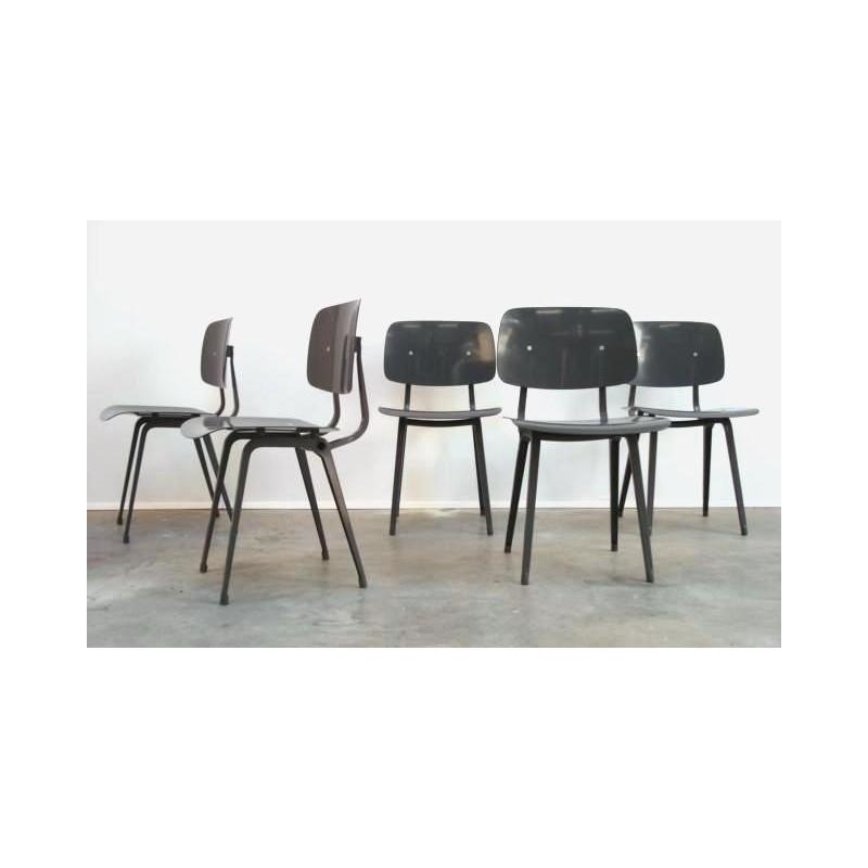 Set van 5 Grijze Revolt stoelen