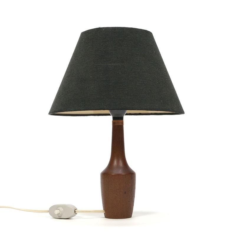 Deense teakhouten vintage tafellampje met zwart kapje