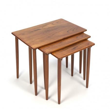Teakhouten nesttafels set van 3 vintage Deens design