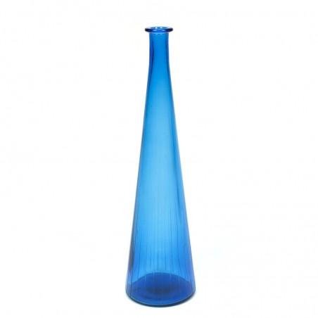 Blauwe decoratief glazen vintage fles