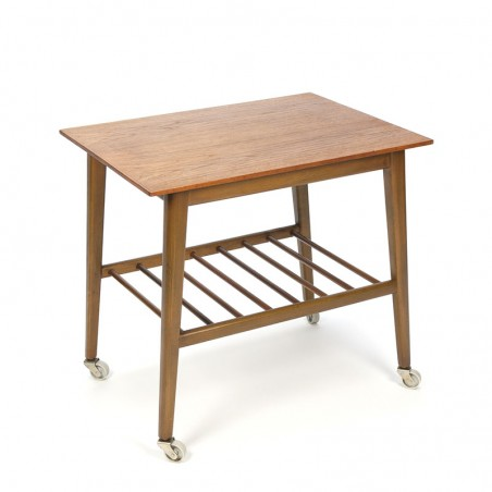 Danish vintage side table on wheels with teak top