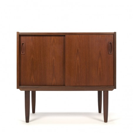 Vintage small teak cabinet with sliding doors