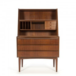 Secretaire vintage Deens model in teakhout