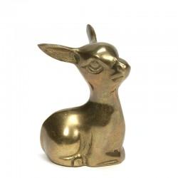 Lying vintage small brass deer