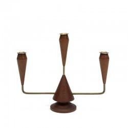 Vintage Danish candlestick teak with brass