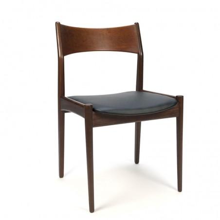 Donkere teakhouten vintage eettafel stoel