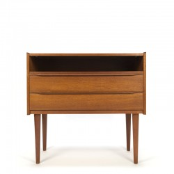 Teak vintage Danish dressing table with flap