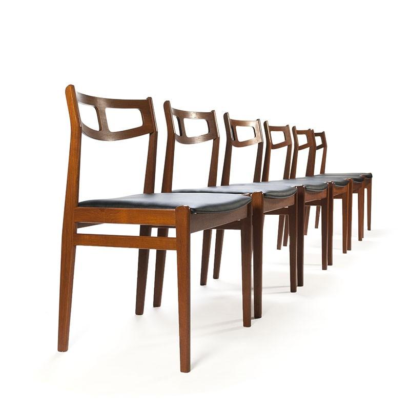 Luxury teak vintage set of 6 Danish dining table chairs