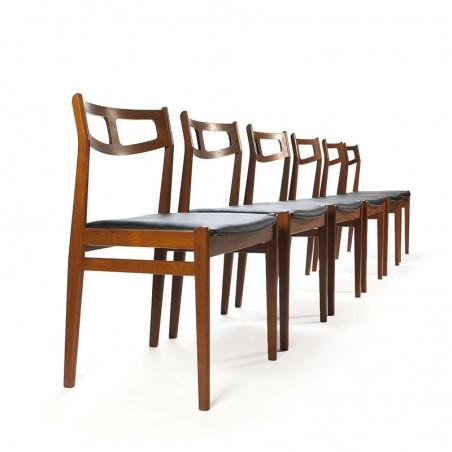 Luxe teakhouten vintage set van 6 Deense eettafel stoelen