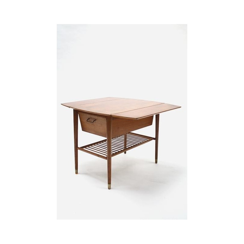Drop-leaf table from teak
