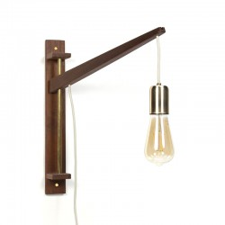 Vintage teak wall lamp with brass detail