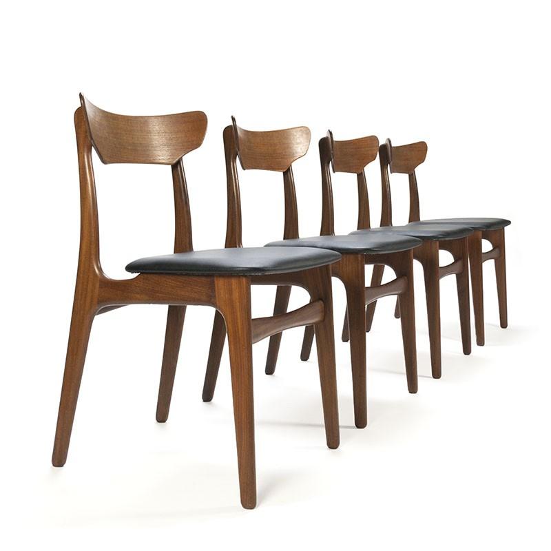 Schionning en Elgaard design set van 4 vintage stoelen