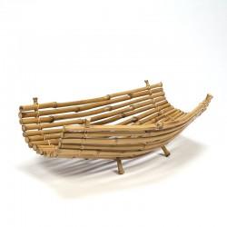 Zestiger jaren grote vintage bamboe fruitschaal
