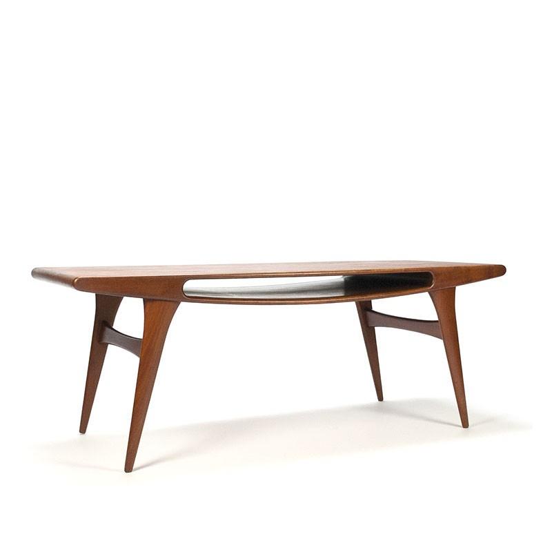 Teakhouten vintage Deense salontafel met magazine ruimte