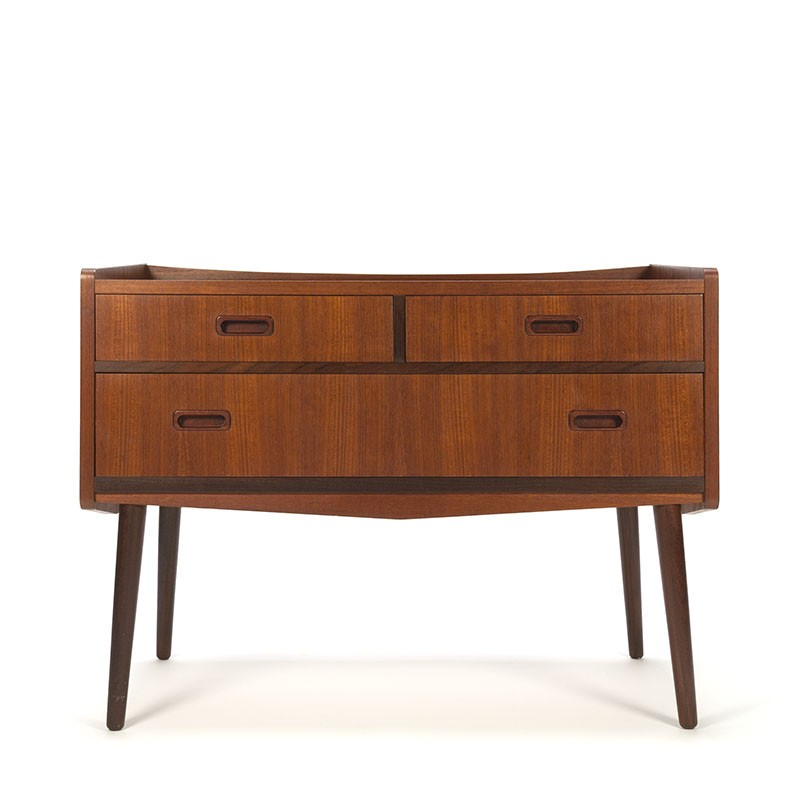 Vintage chest of drawers in teak on high leg