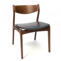 Vintage Deense eettafel stoel teak met zwarte zitting