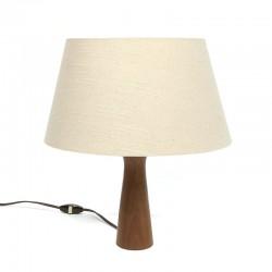Vintage tafellamp met teakhouten voet