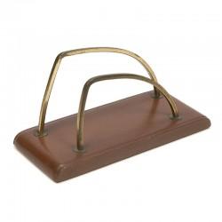 Letter holder vintage brown leather base