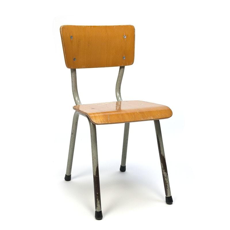 Industrial vintage children's school chair wood