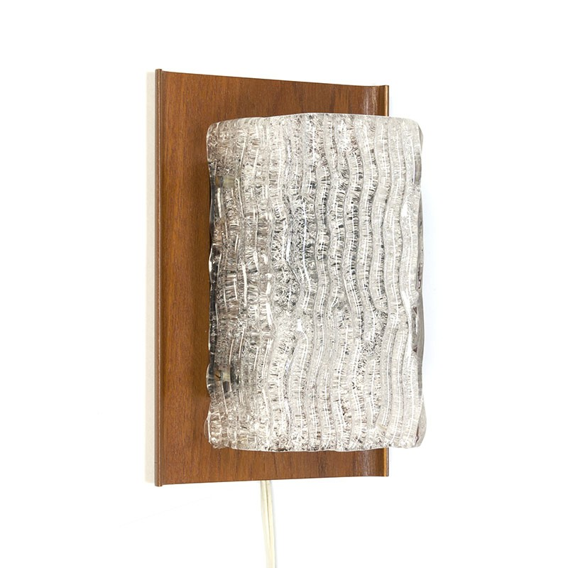 Vintage design wall lamp with plywood wall part and glass