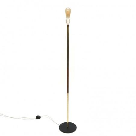 Minimalistic vintage floor lamp teak and brass