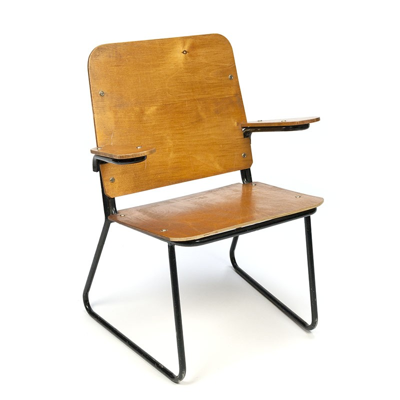 Vintage fifties child's chair on black metal frame