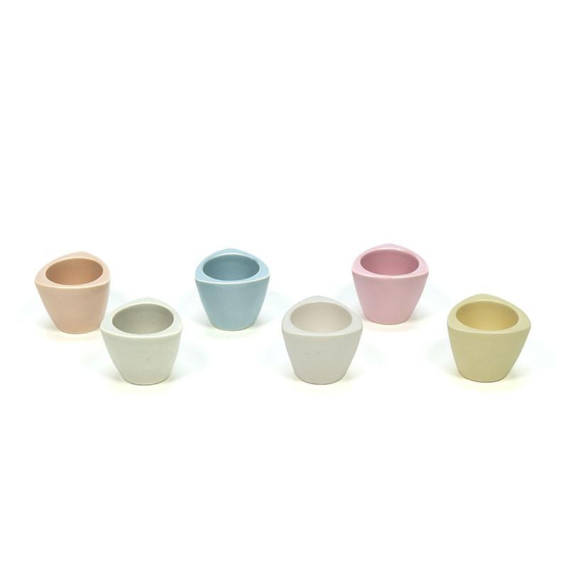 Set of 6 vintage Flora Gouda egg cups in pastel colors