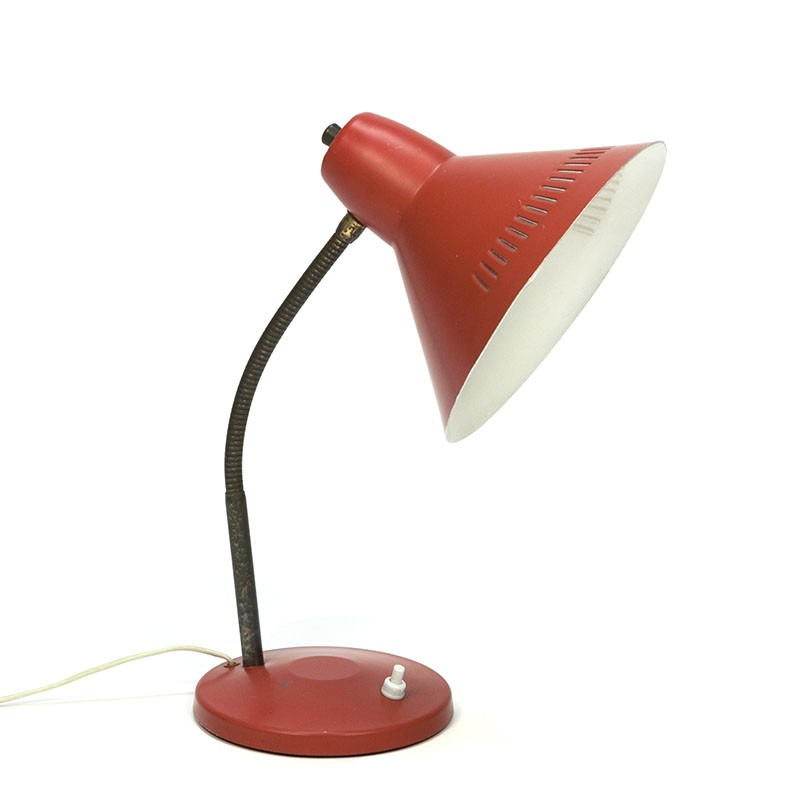 Vintage table lamp with perforated edge from the sixties