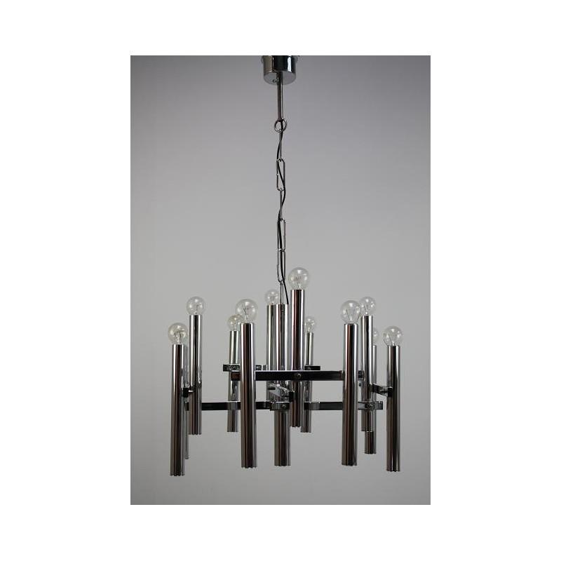 Large chrome hanging lamp