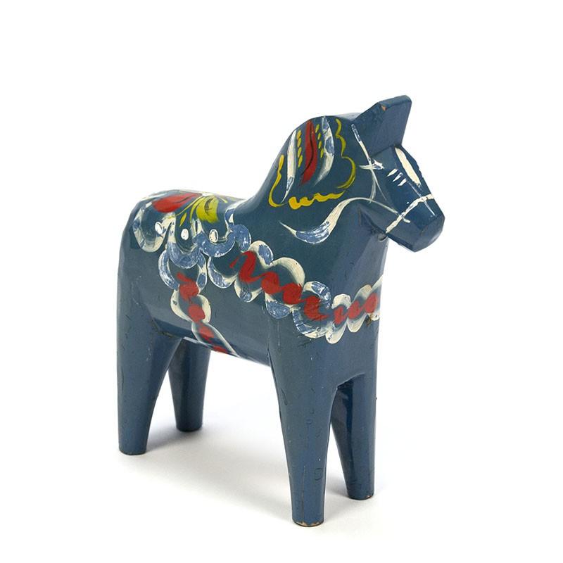 Vintage blauw Dala paardje ontwerp Nils Olsson